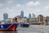 """TOW River Thames Barge Driving Race 2013: Barge """"Steve Faldo"""" by Capital Pleasure Boats, and barge """"Diana"""", by Trinity Buoy Wharf, approaching Tower Bridge, In the background the Walkie Talkie- and the Gherkin building.. River Thames between Greenwich and Westminster, London,  United Kingdom, on 13 July 2013 at 13:35, image #368"""