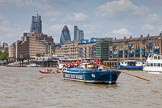 "TOW River Thames Barge Driving Race 2013: Barge ""Diana"", by Trinity Buoy Wharf, approaching ""HMS President"" on the right, with the ""Gherkin"" buiilding behind.. River Thames between Greenwich and Westminster, London,  United Kingdom, on 13 July 2013 at 13:36, image #369"