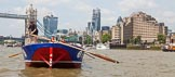 """TOW River Thames Barge Driving Race 2013: Barge """"Steve Faldo"""" by Capital Pleasure Boats, approaching Tower Bridge.. River Thames between Greenwich and Westminster, London,  United Kingdom, on 13 July 2013 at 13:38, image #372"""