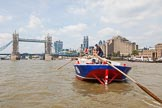 "TOW River Thames Barge Driving Race 2013: Barge ""Steve Faldo"" by Capital Pleasure Boats, approaching Tower Bridge.. River Thames between Greenwich and Westminster, London,  United Kingdom, on 13 July 2013 at 13:39, image #373"