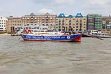 """TOW River Thames Barge Driving Race 2013: Barge """"Steve Faldo"""" by Capital Pleasure Boats, passing the Royal Navy """"HMS President"""".. River Thames between Greenwich and Westminster, London,  United Kingdom, on 13 July 2013 at 13:39, image #374"""