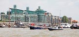 """TOW River Thames Barge Driving Race 2013: Barge  """"Blackwall"""", by the Port of London Authority, passing modern buildings at Wapping Hight Street.. River Thames between Greenwich and Westminster, London,  United Kingdom, on 13 July 2013 at 13:40, image #375"""