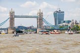 TOW River Thames Barge Driving Race 2013: Tower Bridge and the Walkie Talkie building seen from the river.. River Thames between Greenwich and Westminster, London,  United Kingdom, on 13 July 2013 at 13:42, image #378