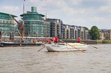 "TOW River Thames Barge Driving Race 2013: Barge ""Shell Bay"" by South Dock Marina, passing modern buildings at Wapping Hight Street.. River Thames between Greenwich and Westminster, London,  United Kingdom, on 13 July 2013 at 13:43, image #379"