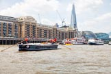 "TOW River Thames Barge Driving Race 2013: Barge ""Benjamin"", by London Party Boats, in front of Butlers Wharf. On the right the Shard building, City Hall, and Tower Bridge.. River Thames between Greenwich and Westminster, London,  United Kingdom, on 13 July 2013 at 13:43, image #383"
