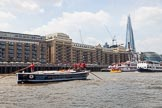 "TOW River Thames Barge Driving Race 2013: Barge ""Benjamin"", by London Party Boats, in front of Butlers Wharf. On the right the Shard building, City Hall, and Tower Bridge.. River Thames between Greenwich and Westminster, London,  United Kingdom, on 13 July 2013 at 13:43, image #384"