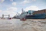 "TOW River Thames Barge Driving Race 2013: HMS Belfast, with the Tower Bridge behind, and barge ""Steve Faldo"" by Capital Pleasure Boats approaching.. River Thames between Greenwich and Westminster, London,  United Kingdom, on 13 July 2013 at 13:48, image #397"
