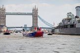 "TOW River Thames Barge Driving Race 2013: Barge ""Steve Faldo"" by Capital Pleasure Boats, followed by barge ""Blackwall"", by the Port of London Authority, passing HMS Belfast, with Tower Bridge in the background.. River Thames between Greenwich and Westminster, London,  United Kingdom, on 13 July 2013 at 13:48, image #398"