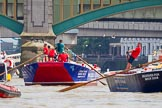 "TOW River Thames Barge Driving Race 2013: Barge ""Blackwall"", by the Port of London Authority, followed by barge ""Steve Faldo"" by Capital Pleasure Boats. Behind them Cannon Street Railway Bridge and Southwark Bridge.. River Thames between Greenwich and Westminster, London,  United Kingdom, on 13 July 2013 at 13:57, image #409"