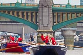 """TOW River Thames Barge Driving Race 2013: Barge """"Blackwall"""", by the Port of London Authority, followed by barge """"Steve Faldo"""" by Capital Pleasure Boats. Behind them Cannon Street Railway Bridge and Southwark Bridge.. River Thames between Greenwich and Westminster, London,  United Kingdom, on 13 July 2013 at 13:57, image #410"""