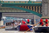 """TOW River Thames Barge Driving Race 2013: Barge """"Blackwall"""", by the Port of London Authority, followed by barge """"Steve Faldo"""" by Capital Pleasure Boats. Behind them Cannon Street Railway Bridge and Southwark Bridge.. River Thames between Greenwich and Westminster, London,  United Kingdom, on 13 July 2013 at 13:57, image #411"""