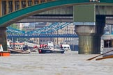"""TOW River Thames Barge Driving Race 2013: Barge """"Benjamin"""", by London Party Boats, followed by barge """"Shell Bay"""" by South Dock Marina, passing London Bridge. In the foreground Cannon Street Railway Bridge and Southwark Bridge.. River Thames between Greenwich and Westminster, London,  United Kingdom, on 13 July 2013 at 13:57, image #412"""