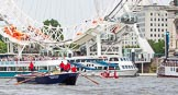 """TOW River Thames Barge Driving Race 2013: Barge """"Blackwall"""", by the Port of London Authority, at the London Eye, close to the finish of the race at Westminster Bridge.. River Thames between Greenwich and Westminster, London,  United Kingdom, on 13 July 2013 at 14:16, image #415"""