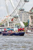 """TOW River Thames Barge Driving Race 2013: Barge """"Blackwall"""", by the Port of London Authority, at the London Eye, close to the finish of the race at Westminster Bridge.. River Thames between Greenwich and Westminster, London,  United Kingdom, on 13 July 2013 at 14:16, image #417"""