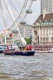 """TOW River Thames Barge Driving Race 2013: Barge """"Blackwall"""", by the Port of London Authority, at the London Eye, close to the finish of the race at Westminster Bridge.. River Thames between Greenwich and Westminster, London,  United Kingdom, on 13 July 2013 at 14:16, image #418"""