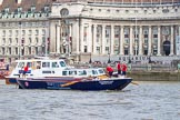 """TOW River Thames Barge Driving Race 2013: Barge """"Blackwall"""", by the Port of London Authority, at the London Aquarium, close to the finish of the race at Westminster Bridge.. River Thames between Greenwich and Westminster, London,  United Kingdom, on 13 July 2013 at 14:16, image #419"""