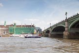 """TOW River Thames Barge Driving Race 2013: Barge """"Blackwall"""", by the Port of London Authority, about to cross the finish line at Westminster Bridge as the race winner.. River Thames between Greenwich and Westminster, London,  United Kingdom, on 13 July 2013 at 14:16, image #420"""