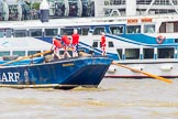 """TOW River Thames Barge Driving Race 2013: Barge """"Diana"""", by Trinity Buoy Wharf, at the London Eye, close to the finish of the race at Westminster Bridge.. River Thames between Greenwich and Westminster, London,  United Kingdom, on 13 July 2013 at 14:17, image #422"""