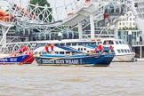 """TOW River Thames Barge Driving Race 2013: Barge """"Diana"""", by Trinity Buoy Wharf, at the London Eye, followed by barge """"Steve Faldo"""" by Capital Pleasure Boats, close to the finish of the race at Westminster Bridge.. River Thames between Greenwich and Westminster, London,  United Kingdom, on 13 July 2013 at 14:17, image #423"""