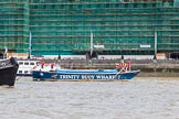 "TOW River Thames Barge Driving Race 2013: Barge ""Diana"", by Trinity Buoy Wharf, approaching the finish of the race at Westminster Bridge.. River Thames between Greenwich and Westminster, London,  United Kingdom, on 13 July 2013 at 14:18, image #427"