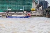 "TOW River Thames Barge Driving Race 2013: Barge barge ""Steve Faldo"" by Capital Pleasure Boats, approaching the finish of the race at Westminster Bridge.. River Thames between Greenwich and Westminster, London,  United Kingdom, on 13 July 2013 at 14:18, image #429"
