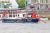 "TOW River Thames Barge Driving Race 2013: Barge ""Benjamin"", by London Party Boats, at the London Eye, close to the finish of the race at Westminster Bridge.. River Thames between Greenwich and Westminster, London,  United Kingdom, on 13 July 2013 at 14:19, image #431"