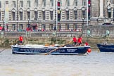 "TOW River Thames Barge Driving Race 2013: Barge ""Benjamin"", by London Party Boats, at the London Aquarium, close to the finish of the race at Westminster Bridge.. River Thames between Greenwich and Westminster, London,  United Kingdom, on 13 July 2013 at 14:19, image #432"