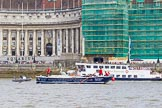 """TOW River Thames Barge Driving Race 2013: Barge """"Benjamin"""", by London Party Boats, at the London Aquarium, close to the finish of the race at Westminster Bridge.. River Thames between Greenwich and Westminster, London,  United Kingdom, on 13 July 2013 at 14:19, image #434"""