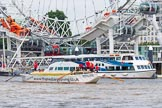 "TOW River Thames Barge Driving Race 2013: Barge """"Shell Bay"" by South Dock Marina, at the London Eye, close to the finish of the race at Westminster Bridge.. River Thames between Greenwich and Westminster, London,  United Kingdom, on 13 July 2013 at 14:23, image #441"