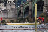 """TOW River Thames Barge Driving Race 2013: Barge """"""""Shell Bay"""" by South Dock Marina,  crosses the finish of the race at Westminster Bridge.. River Thames between Greenwich and Westminster, London,  United Kingdom, on 13 July 2013 at 14:24, image #449"""