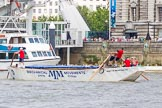 "TOW River Thames Barge Driving Race 2013: Barge ""Spirit of Mountabatten"", by Mechanical Movements and Enabling Services Ltd, at the London Eye, close to the finish of the race at Westminster Bridge.. River Thames between Greenwich and Westminster, London,  United Kingdom, on 13 July 2013 at 14:25, image #456"