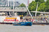 "TOW River Thames Barge Driving Race 2013: Barge ""Darren Lacey"", by Princess Pocahontas, at Hungerford Bridge and the London Eye, close to the race finish at Westminster Bridge.. River Thames between Greenwich and Westminster, London,  United Kingdom, on 13 July 2013 at 14:28, image #472"