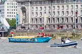 "TOW River Thames Barge Driving Race 2013: Barge ""The Matchgirls"", by Unite the Union, at the London Aquarium, close to the race finish at Westminster Bridge.. River Thames between Greenwich and Westminster, London,  United Kingdom, on 13 July 2013 at 14:35, image #489"