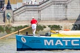 "TOW River Thames Barge Driving Race 2013: Barge ""The Matchgirls"", by Unite the Union, at the London Aquarium, at the race finish at Westminster Bridge.. River Thames between Greenwich and Westminster, London,  United Kingdom, on 13 July 2013 at 14:36, image #496"