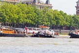 "TOW River Thames Barge Driving Race 2013: MV Havengore, hosting VIP guests, on the left, behind GPS Marine tug ""GPS India"", ready to pull barge ""Benjamin"", by London Party Boats, and barge ""Shell Bay"" by South Dock Marina, back to Greenwich.. River Thames between Greenwich and Westminster, London,  United Kingdom, on 13 July 2013 at 14:36, image #497"