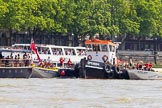 "TOW River Thames Barge Driving Race 2013: MV Havengore, hosting VIP guests, on the left, behind GPS Marine tug ""GPS India"", ready to pull barge ""Benjamin"", by London Party Boats, and barge ""Shell Bay"" by South Dock Marina, back to Greenwich.. River Thames between Greenwich and Westminster, London,  United Kingdom, on 13 July 2013 at 14:36, image #498"