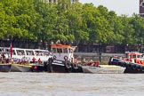 "TOW River Thames Barge Driving Race 2013: GPS Marine tug ""GPS India"", ready to pull barge ""Benjamin"", by London Party Boats, and barge ""Shell Bay"" by South Dock Marina, back to Greenwich. Behind them ""GPS Vincia"".. River Thames between Greenwich and Westminster, London,  United Kingdom, on 13 July 2013 at 14:36, image #499"