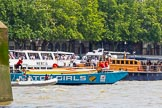 "TOW River Thames Barge Driving Race 2013: Barge ""The Matchgirls"" by Unite the Union, behind the finish line at Westminster Bridge. On the right MV Havengore, hosting VIP guests.. River Thames between Greenwich and Westminster, London,  United Kingdom, on 13 July 2013 at 14:37, image #500"