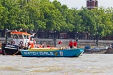 "TOW River Thames Barge Driving Race 2013: Barge ""The Matchgirls"" by Unite the Union, turning around behind the finish line at Westminster Bridge, with GPS Marine tug ""GPS India"" ready to pull barges back to Greenwich.. River Thames between Greenwich and Westminster, London,  United Kingdom, on 13 July 2013 at 14:37, image #501"