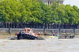 "TOW River Thames Barge Driving Race 2013: GPS Marine tug ""GPS Vincia"", ready to pull barge ""Hoppy"", by GPS Fabrication, and barge barge ""Spirit of Mountabatten"", by Mechanical Movements and Enabling Services Ltd, back to Greenwich.. River Thames between Greenwich and Westminster, London,  United Kingdom, on 13 July 2013 at 14:39, image #504"