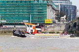 "TOW River Thames Barge Driving Race 2013: GPS Marine tug ""GPS India"", pulling barge ""Benjamin"", by London Party Boats, and barge ""Shell Bay"" by South Dock Marina, back to Greenwich.. River Thames between Greenwich and Westminster, London,  United Kingdom, on 13 July 2013 at 14:40, image #505"
