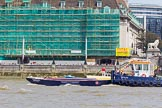 "TOW River Thames Barge Driving Race 2013: PLA tug ""Impulse"" pushing barge ""Blackwall"", by the Port of London Authority, back from Westminster to Greenwich.. River Thames between Greenwich and Westminster, London,  United Kingdom, on 13 July 2013 at 14:41, image #508"