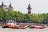 "TOW River Thames Barge Driving Race 2013: Thames Towage tug ""Aicirton"" pulling barge ""Darren Lacey"", by Princess Pocahontas, and barge ""Jane"", by the RMT Union, back from Westminster to Greenwich.. River Thames between Greenwich and Westminster, London,  United Kingdom, on 13 July 2013 at 14:41, image #510"