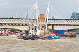 TOW River Thames Barge Driving Race 2013: Barges on the way back to Greenwich, passing Hungerford Bridge.. River Thames between Greenwich and Westminster, London,  United Kingdom, on 13 July 2013 at 14:43, image #517