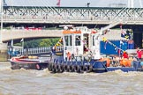 "TOW River Thames Barge Driving Race 2013: PLA tug ""Impulse"" pushing barge ""Blackwall"", by the Port of London Authority, back to Greenwich.. River Thames between Greenwich and Westminster, London,  United Kingdom, on 13 July 2013 at 14:43, image #518"