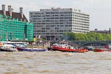 TOW River Thames Barge Driving Race 2013: Barges on the way back to Greenwich, passing Westminster Bridge.. River Thames between Greenwich and Westminster, London,  United Kingdom, on 13 July 2013 at 14:44, image #519