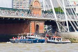 "TOW River Thames Barge Driving Race 2013: Barge ""Diana"", by Trinity Buoy Wharf, pulled back to Greenwich by tug ""Swiftstone"", here passing Hungerford Bridge.. River Thames between Greenwich and Westminster, London,  United Kingdom, on 13 July 2013 at 14:45, image #520"