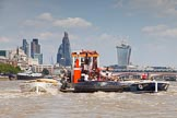 """TOW River Thames Barge Driving Race 2013: GPS Marine tug """"GPS India"""", pulling barge """"Benjamin"""", by London Party Boats, and barge """"Shell Bay"""" by South Dock Marina, back to Greenwich. In the background the London skyscapers, the """"Gherkin"""", the """"Cheesegrater"""", and the """"Walkie Talkie"""".. River Thames between Greenwich and Westminster, London,  United Kingdom, on 13 July 2013 at 14:48, image #529"""