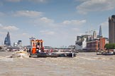 """TOW River Thames Barge Driving Race 2013: GPS Marine tug """"GPS India"""", pulling barge """"Benjamin"""", by London Party Boats, and barge """"Shell Bay"""" by South Dock Marina, back to Greenwich.. River Thames between Greenwich and Westminster, London,  United Kingdom, on 13 July 2013 at 14:48, image #530"""