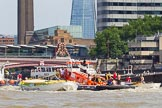 """TOW River Thames Barge Driving Race 2013: GPS Marine tug """"GPS Vincia"""" at Blackfriars Bridge, pulling barge """"Hoppy"""", by GPS Fabrication, and barge barge """"Spirit of Mountabatten"""", by Mechanical Movements and Enabling Services Ltd, back to Greenwich.. River Thames between Greenwich and Westminster, London,  United Kingdom, on 13 July 2013 at 14:50, image #534"""